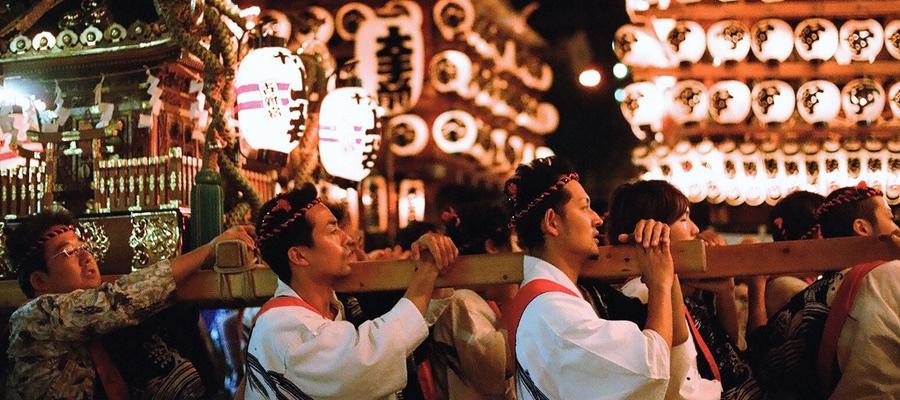 Japanese matsuri festival in odawara chochin